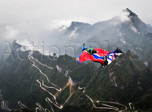 13.10.2016. Zhangjiajie, Hunan Province, China.  Tom Erik Heimen of Norway glides during the qualification of World Wingsuit League (WWL) China Grand Prix 2016 in Zhangjiajie,   Hunan Province, Oct. 13, 2016. Only ten of the total sixteen fliers took part in the competition due to the weather on Thursday.