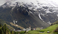 Homes and property below the mountain in the village of Vent in the district of Sölden Tyrol, Tirol, Austria.