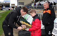 Blackpool's Harry Pritchard signs an autograph for a young supporter<br /> <br /> Photographer Andrew Kearns/CameraSport<br /> <br /> The EFL Sky Bet League Two - Bristol Rovers v Blackpool - Saturday 2nd March 2019 - Memorial Stadium - Bristol<br /> <br /> World Copyright © 2019 CameraSport. All rights reserved. 43 Linden Ave. Countesthorpe. Leicester. England. LE8 5PG - Tel: +44 (0) 116 277 4147 - admin@camerasport.com - www.camerasport.com