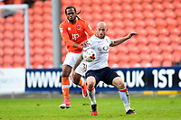Blackpool's Nathan Delfouneso vies for possession with Luton Town's Scott Cuthbert<br /> <br /> Photographer Richard Martin-Roberts/CameraSport<br /> <br /> The EFL Sky Bet League Two Play-Off Semi Final First Leg - Blackpool v Luton Town - Sunday May 14th 2017 - Bloomfield Road - Blackpool<br /> <br /> World Copyright &copy; 2017 CameraSport. All rights reserved. 43 Linden Ave. Countesthorpe. Leicester. England. LE8 5PG - Tel: +44 (0) 116 277 4147 - admin@camerasport.com - www.camerasport.com