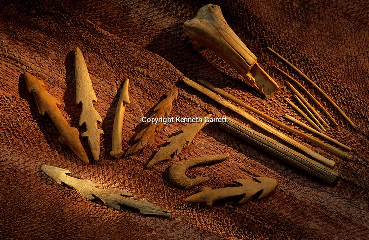 Peopling the Americas; Bone fishing tools; Found by Rick Knecht; sewing needles made from seabird bone; Dutch Harbor; Aleutian Islands; Alaska