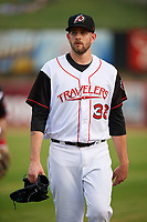 Seattle Mariners pitcher James Paxton (38) walks to the dugout from the bullpen while on rehab assignment with the Arkansas Travelers during a game against the Frisco RoughRiders on May 26, 2017 at Dickey-Stephens Park in Little Rock, Arkansas.  Arkansas defeated Frisco 4-2.  (Mike Janes/Four Seam Images)