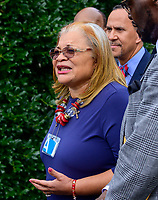 Alveda King speaks to the media after meeting with United States President Donald J. Trump at the White House in Washington, DC on Monday, July 29, 2019. Credit: Ron Sachs/CNP/AdMedia