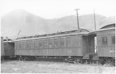 Coach #256 built by Billmeyer &amp; Small in 1876 as coach #12.  Renumbered to #256 in 1886.<br /> D&amp;RGW  Salida, CO  Taken by Axt, Vernon - 7/1940