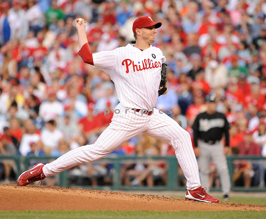 ROY HALLADAY, of the Philadelphia Phillies in action during the Phillies game against the Florida Marlins on June 15, 2011 at Citizens Bank Park in Philadelphia Pennsylvania. The Phillies beat the Marlins 5-4.