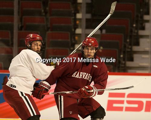 Jake Horton (Harvard - 19), Ty Pelton-Byce (Harvard - 11) - The Harvard University Crimson practiced at the United Center on Wednesday, April 5, 2017, in Chicago, Illinois.