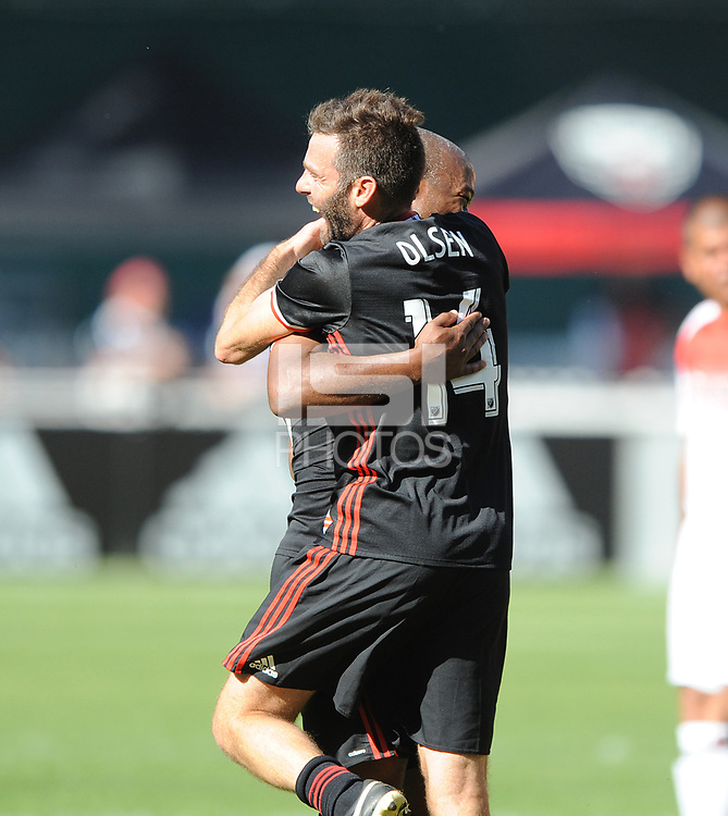 Washington, D.C. - October 22, 2017: D.C. United Black and Red Legends Match celebrating the final season game at RFK Stadium. The Black jersey defeated the Red jersey 5-4.