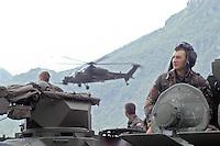 - MLF, European Multinational Land Force, Italian, Slovenian and Hungarian Combat Group; Hungarian army, soldiers on a BTR-80 armoured personnel carrier (APC) ....- MLF, Forza Europea Multinazionale di Terra, Gruppo da Combattimento Italo Sloveno Ungherese; esercito ungherese, militari a bordo di un veicolo blindato BTR-80