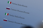 A sign seen during the Italo-Russian intergovernmental meeting in Trieste.  <br /> <br /> &copy; Pierre Teyssot
