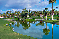 Golf Resort, Fairway,  Lake, Palm Trees, Reflections, Cloudy Blue Sky, Vertical