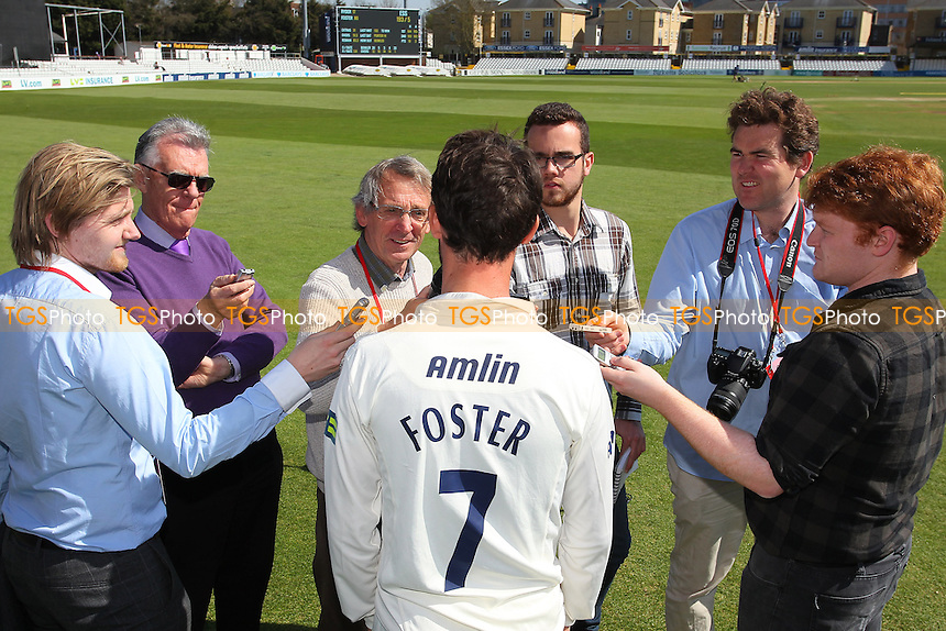 Essex skipper James Foster speaks to the media after the win - Essex CCC vs Kent CCC - LV County Championship Division Two Cricket at the Essex County Ground, Chelmsford, Essex - 21/04/15 - MANDATORY CREDIT: TGSPHOTO - Self billing applies where appropriate - contact@tgsphoto.co.uk - NO UNPAID USE