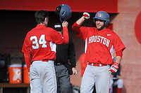 University of Houston Cougars infielder Casey Grayson (18) is greeted by team mate Kyle Survance (34) after hitting a home run during game game 2 of a double header against the Rutgers Scarlet Knights at Bainton Field on April 5, 2014 in Piscataway, New Jersey. Houston defeated Rutgers 9-1.      <br />  (Tomasso DeRosa/ Four Seam Images)