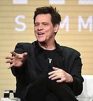 "BEVERLY HILLS - AUGUST 2: Executive Producer/Star Jim Carrey onstage during the ""Kidding"" panel at the Showtime portion of the Summer 2019 TCA Press Tour at the Beverly Hilton on August 2, 2019 in Los Angeles, California. (Photo by Frank Micelotta/PictureGroup)"