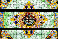 Stained glass on the ceiling of the House of Representatives for the State of Wyoming inside the State Capital building of Wyoming in Cheyenne, Wyoming, Thursday, June 2, 2011.  ..Photo by Matt Nager