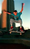 Skateboarder in Justin Herman Plaza, 1987.  &amp;#xA;<br />