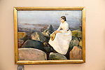 'Summer Night - Inger on the Beach' 1889 oil painting on canvas by Edvard Munch 1863-1944, Kode 3 art gallery Bergen, Norway