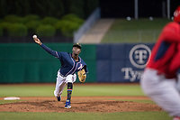Northwest Arkansas Naturals pitcher Yunior Marte (57) delivers a pitch on May 18, 2019, at Arvest Ballpark in Springdale, Arkansas. (Jason Ivester/Four Seam Images)