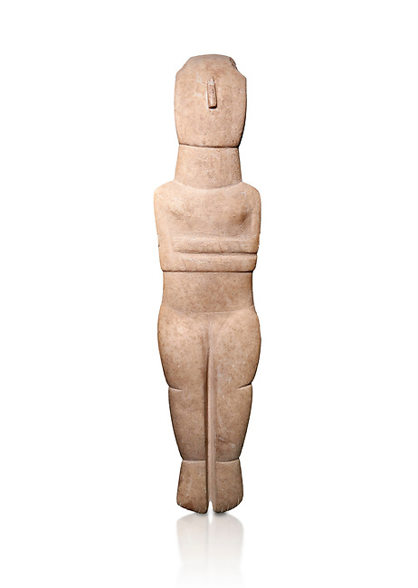 Female Cycladic Canonical type, Spedos variety female figurine statuette. Early Cycladic Period II from Syros phase , (2800-2300 BC). Museum of Cycladic Art Athens,  Against white.<br /> <br /> Traces of painted decoration in red were found on the face and trunk. The nose was painted completely and four verticle bands are visible in the forehead, three on the neck and traces of bands on the chest and oblique bands on the forearms, seven on the left four on the right.