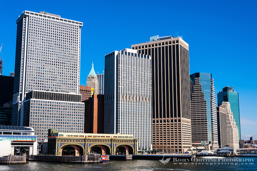 US, New York City. Lower Manhattan seen from the Staten Island ferry. Battery Maritime Building ferry terminal.