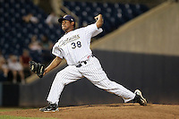 Lake County Captains pitcher Francisco Jimenez (38) during a game vs. the Bowling Green Hot Rods at Classic Park in Eastlake, Ohio;  August 20, 2010.   Lake County defeated Bowling Green 5-3.  Photo By Mike Janes/Four Seam Images