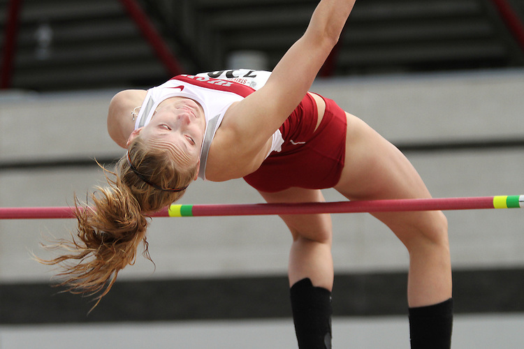Holly Parent, Washington State freshman high jumper, shows the form that took the top spot during the Cougars dual track and field meet with arch-rival Washington at Mooberry Track at Washington State University in Pullman, Washington, on May 1, 2010.