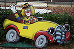 Free standing painting of Chuckles in a car in front of the elementary school in Lake Placid, Florida.
