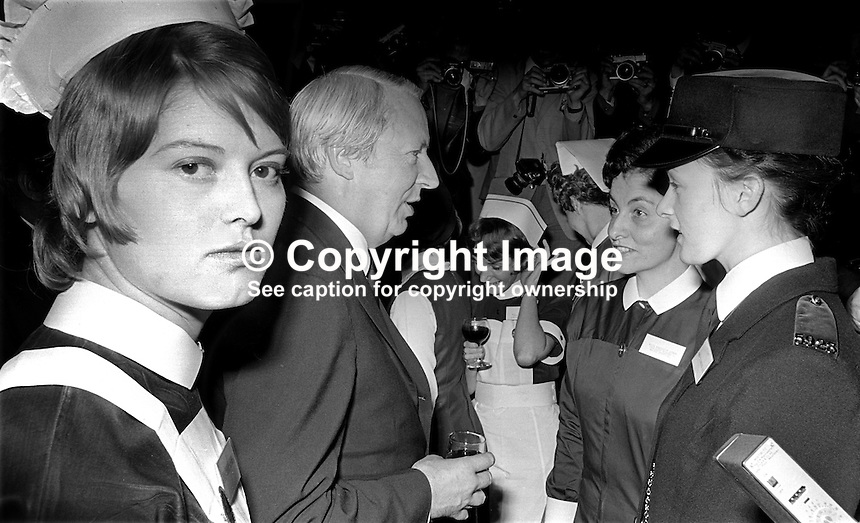 UK Prime Minister, Edward Heath, on a two day visit to N Ireland, meets staff from the essential &amp; emergency services at a reception at Stormont Castle, Belfast, 16th November 2012, 197211160726a.<br />
