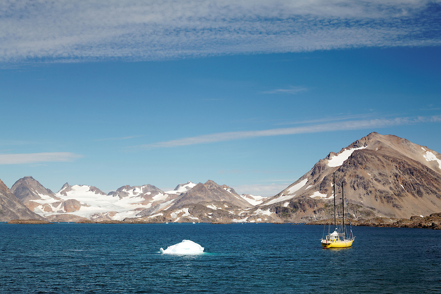 Sailboat in Torsuut Tunoq sound, Kulusuk, East Greenland