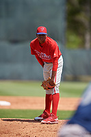 Philadelphia Phillies pitcher Jesus De Los Santos (89) looks in for the sign during a minor league Spring Training game against the Pittsburgh Pirates on March 24, 2017 at Carpenter Complex in Clearwater, Florida.  (Mike Janes/Four Seam Images)