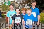 Getting ready for the 3km Scoil Mhuire agus Naomh Treasa fun run on Friday last. .Front L-R Reece Nelligan and Luke O'Loughlin. .Back L-R Adam Manley, Nathan Fealey and Moss O'Callaghan.