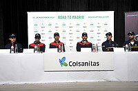 BOGOTA-COLOMBIA, 04-03-2020: Alejandro Gonzalez, deportista; Daniel Galan, deportista; Santiago Giraldo, deprtista; Alejandro Falla, Capitan, Robert Farah, deportista y Juan Sebastian Cabal, deportista; durante rueda de prensa en la presentación del equipo de Colombia para Las clasificatorias Copa Davis by Rakuten 2020 entre Colombia y Argentina en marzo 6 y 7 de 2020. / Alejandro Gonzalez, athlete; Daniel Galan, athlete; Santiago Giraldo, athete; Alejandro Falla, Captain, Robert Farah, athlete and Juan Sebastian Cabal, athlete; during a press conference at the presentation of the Colombia team for the Davis Cup by Rakuten 2020 qualifiers between Colombia and Argentina on March 6 and 7, 2020. / Photo: VizzorImage / Luis Ramirez / Staff.
