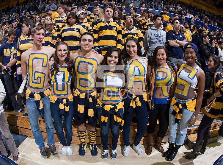 """California """"GoBears"""" fans are pictured before the game against Stanford at Haas Pavilion in Berkeley, California on February 5th, 2014.  Stanford defeated California, 80-69."""