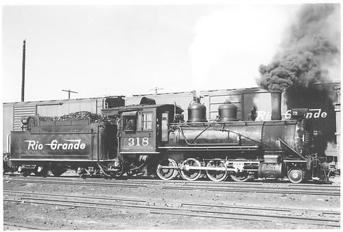 Engineer's-side view of D&amp;RGW #318 in Montrose yards.<br /> D&amp;RGW  Montrose, CO