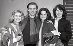 """Mary Carver, Richard Thomas, Swoosie Kurtz and Joyce Reehling after a performance in """"Fifth of July"""" on July 18, 1981 at The New Apollo Theatre in New York City."""