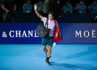 Roger Federer of Switzerland (2) celebrates his victory over Jack Sock of USA (8) in their Group Boris Becker match today - Federer def Sock 6-4, 7-6<br /> <br /> Photographer Ashley Western/CameraSport<br /> <br /> International Tennis - Barclays ATP World Tour Finals - O2 Arena - London - Day 1 - Sunday 12th November 2017<br /> <br /> World Copyright &not;&copy; 2017 CameraSport. All rights reserved. 43 Linden Ave. Countesthorpe. Leicester. England. LE8 5PG - Tel: +44 (0) 116 277 4147 - admin@camerasport.com - www.camerasport.com