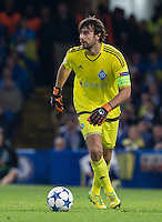 Goalkeeper Oleksandr Shovkovskiy of Dynamo Kiev (Dynamo Kyiv) during the UEFA Champions League Group G match between Chelsea and Dynamo Kyiv at Stamford Bridge, London, England on 4 November 2015. Photo by Andy Rowland.