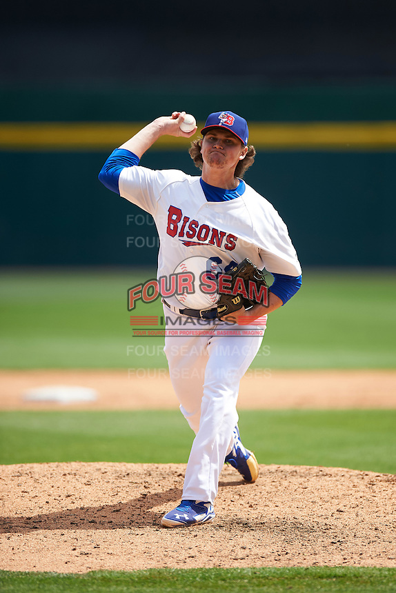 Buffalo Bisons relief pitcher Chad Jenkins (64) during a game against the Toledo Mudhens on May 18, 2016 at Coca-Cola Field in Buffalo, New York.  Buffalo defeated Toledo 7-5.  (Mike Janes/Four Seam Images)