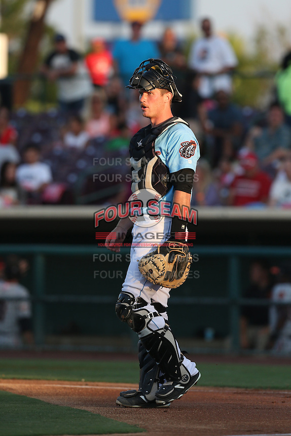 Stephen McGee (9) of the Inland Empire 66ers in the field during a game against the San Jose Giants at San Manuel Stadium on May 30, 2015 in San Bernardino, California. Inland Empire defeated San Jose, 6-4. (Larry Goren/Four Seam Images)