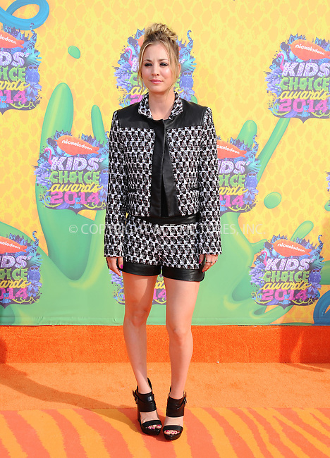 WWW.ACEPIXS.COM<br /> <br /> <br /> March 29,2014, Los Angeles,CA<br /> <br /> <br /> Kaley Cuoco arriving at Nickelodeon's 27th Annual Kids' Choice Awards held at USC Galen Center on March 29, 2014 in Los Angeles, California.<br /> <br /> <br /> <br /> By Line: Peter West/ACE Pictures<br /> <br /> ACE Pictures, Inc<br /> Tel: 646 769 0430<br /> Email: info@acepixs.com