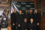 Thom Scott, Melvin Huffnagle, David Roberts, Layon Gray, Delano Barbosa - Front: Thaddeus Daniels, Craig Colasanti and not pictured Ananias Dixon as they perform in Layon Gray's Black Angels Over Tuskegee goes into its 4th year as they celebrate their 3rd Anniversary on March 2, 2013 at the Actors Temple Theatre, New York City, New York.  (Photo by Sue Coflin/Max Photos)