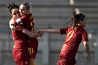 Martina Piemonte (L) of AS Roma celebrates with team mates Giada Greggi and Maria Zecca after scoring the opening goal during the Women Italy cup round of 8 second leg match between AS Roma and Roma Calcio Femminile at stadio delle tre fontane, Roma, February 20, 2019 <br /> Foto Andrea Staccioli / Insidefoto