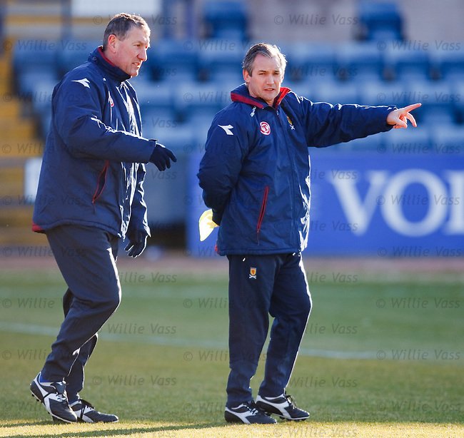Terry Butcher and George Burley discuss tactics at sub-zero Dens Park, Dundee as Sctland have a training session