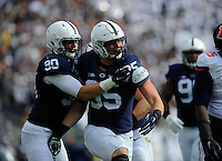 31 October 2015:  Penn State DE Carl Nassib (95) celebrates after a sack with DE Garrett Sickels (90). The Penn State Nittany Lions defeated the Illinois Fighting Illini 39-0 at Beaver Stadium in State College, PA. (Photo by Randy Litzinger/Icon Sportswire)