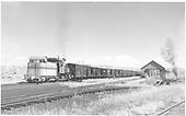 D&amp;RGW #268 switching stock train at Gunnison.<br /> D&amp;RGW  Gunnison, CO  Taken by Richardson, Robert W. - 10/3/1952