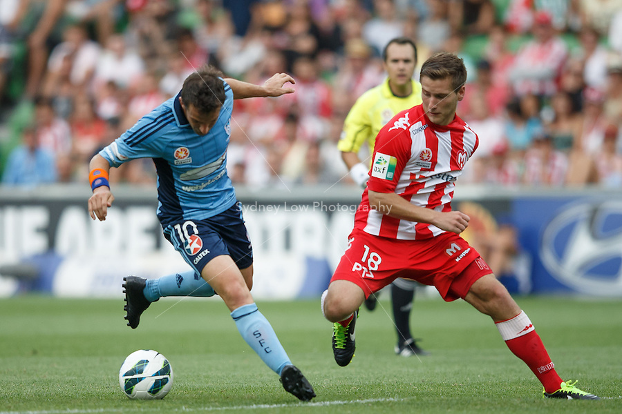 MELBOURNE - 24 FEB: Alessandro DEL-PIERO of Sydney and David VRANKOVIC of the Heart compete for the ball in the round 22 A-League match between Melbourne Heart and Sydney FC at AAMI Park on 22 February 2013. (Photo Sydney Low/syd-low.com/Melbourne Heart)