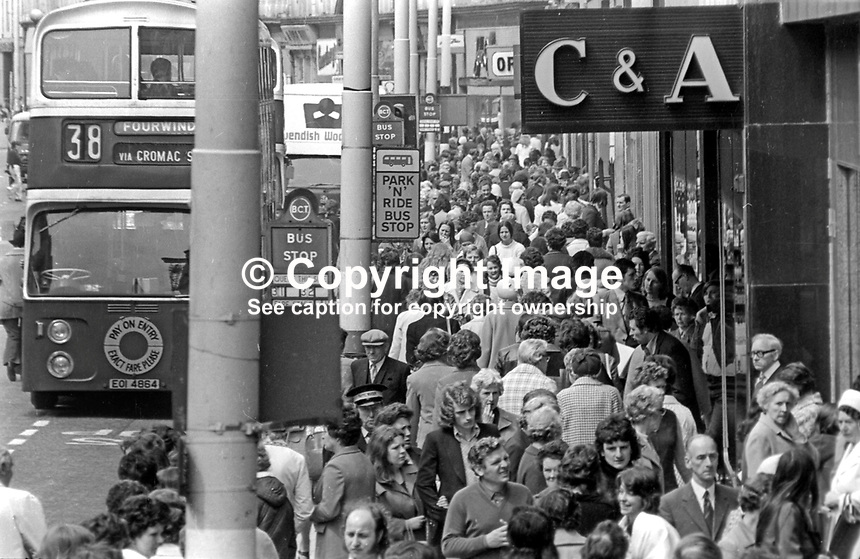 After the Ulster Workers' Council strike Belfast, N Ireland, gets back to work with buses running again and thronged footpaths. May 1974197405290298K<br />