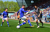 Lincoln City's Bruno Andrade vies for possession with Carlisle United's Gary Liddle<br /> <br /> Photographer Chris Vaughan/CameraSport<br /> <br /> The EFL Sky Bet League Two - Carlisle United v Lincoln City - Friday 19th April 2019 - Brunton Park - Carlisle<br /> <br /> World Copyright © 2019 CameraSport. All rights reserved. 43 Linden Ave. Countesthorpe. Leicester. England. LE8 5PG - Tel: +44 (0) 116 277 4147 - admin@camerasport.com - www.camerasport.com