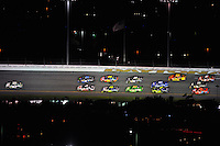 Jul. 5, 2008; Daytona Beach, FL, USA; NASCAR Sprint Cup Series driver Dale Earnhardt Jr (88) leads the field during the Coke Zero 400 at Daytona International Speedway. Mandatory Credit: Mark J. Rebilas-