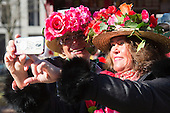 Düsseldorf, Germany. 15 February 2015. Two women in fancy dress taking a selfie. Street carnival celebrations take place on Königsallee (Kö) in Düsseldorf ahead of the traditional Shrove Monday parade (Rosenmontagszug).