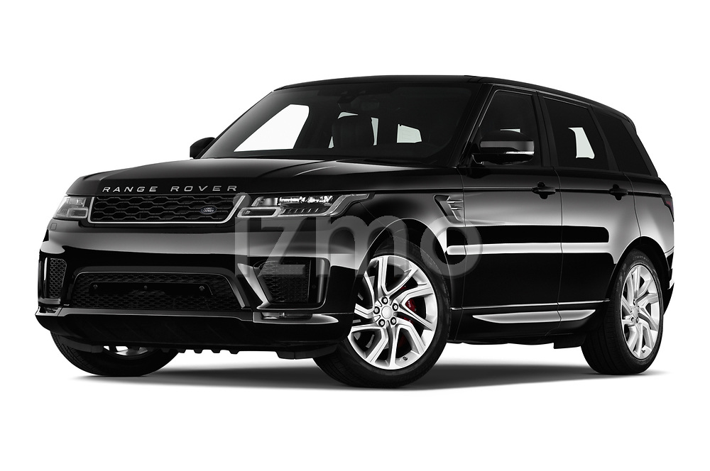 Stock pictures of low aggressive front three quarter view of a 2018 Land Rover Range Rover Sport HSE Dynamic 5 Door SUV